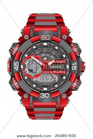 Realistic Red Grey Watch Clock Chronograph Sport Modern For Men On White Background Vector Illustrat