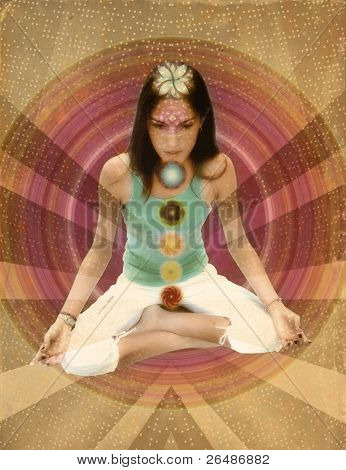 Vintage chakras girl meditating with 7 chakras in sepia paper