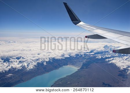 Lake Pukaki, Mount Cook In New Zealands South Island, Aerial View From Commercial Airplane