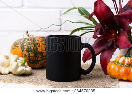 Black Coffee Mug Mockup With Thanksgiving Fall Orange Pumpkin And Red Lily. Empty Mug Mock Up For Br