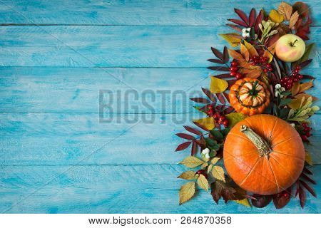 Thanksgiving Or Fall Greeting Background With Border Of Apples, Red Berries, Leaves And Pumpkins On