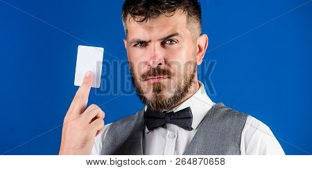 Easy Money Credit. Which Bank Credit Card Easy To Get. Man Bearded Hipster Hold Plastic Blank Card B