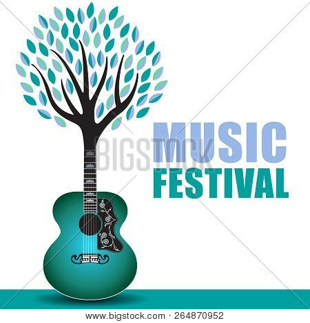 Outdoor Music Festival Art With A Generic Guitar Tree Background