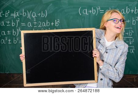 Place For School News. School Schedule And Extra Classes. Teacher Woman Hold Blackboard Blank Advert