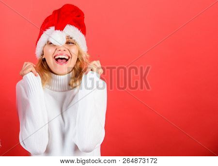 Christmas Masquerade Or Karnival Concept. Girl Cheerful Face Celebrate Christmas. Woman Celebrate Wi