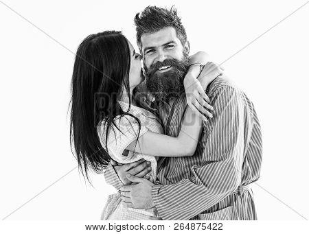 Couple In Love Hugging In Pajama, Bathrobe. Couple Cuddling, Girl Kissing Macho, Isolated On White B