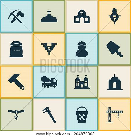Construction Icons Set With Ax With Pickax, Hammer, Temple And Other Vernier Elements. Isolated Vect