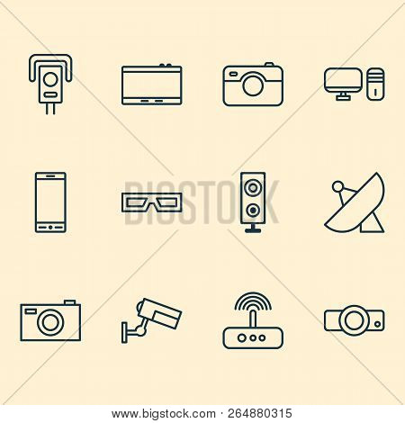 Gadget Icons Set With Projector, Photo Apparatus, Photographing And Other Digital Camera Elements. I