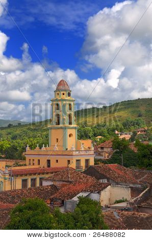 A view of trinidad architecture and cuban landscape