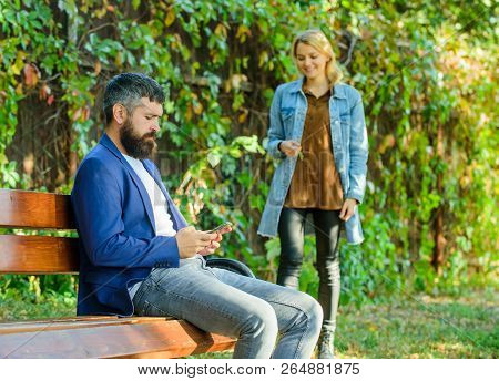 Couple In Love Romantic Date Walk Nature Park Background. Man Bearded Hipster Wait Girlfriend. Park