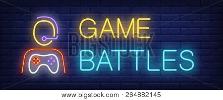 Game Battles Neon Text And Person With Game Console. Computer Games And Entertainment Advertisement