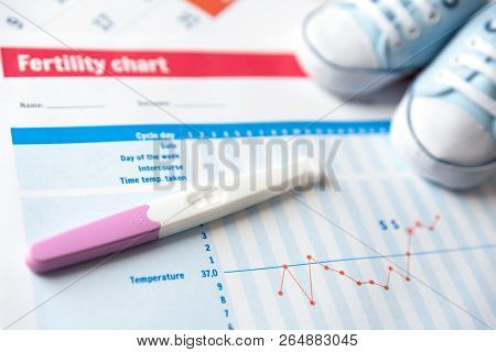 Pregnancy Test And Baby Shoes On Fertility Chart