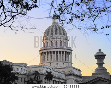 A view of Havana capitoly dome at sunset
