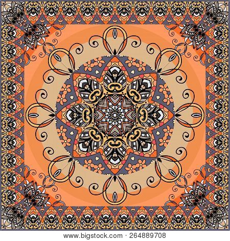 Ethnic Square Rug With Flower Mandala And Zigzag Ornamental Frame. Shawl, Lovely Tablecloth, Pillowc