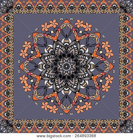 Beautiful Round Ornament In Ethnic Style. Flower Mandala And Zigzag Frame On Dark Grey Background. V