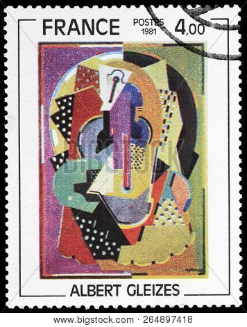 Luga, Russia - September 12, 2018: A Stamp Printed By France Shows Painting Horsewoman By Famous Fre