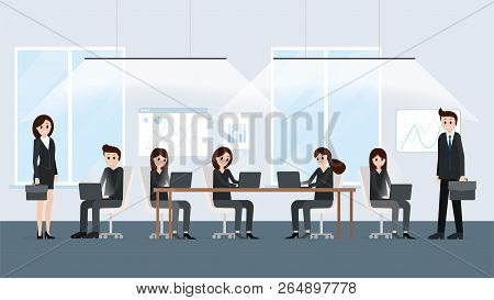 Co-working Space Modern Office Interior Poster Vector Illustration. People Working Together Close Te