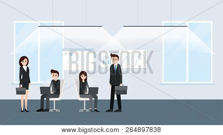 Cartoon People Working At Office Together Poster. Businesspeople Co-workers In Friendly And Noisy En