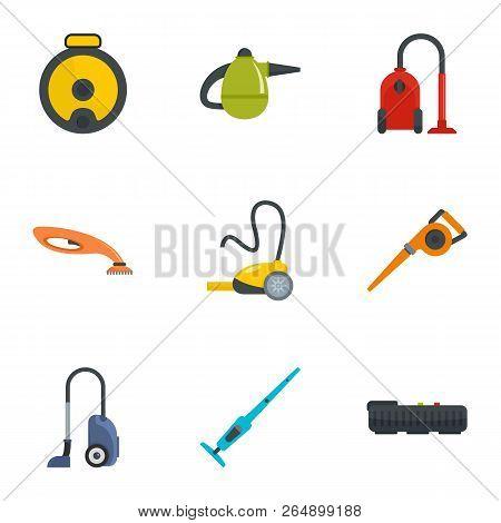 Modern carpet sweeper icon set. Flat set of 9 modern carpet sweeper vector icons for web design poster