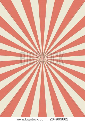 Sunlight Retro Narrow Vertical Background. Pale Red And Beige Color Burst Background. Fantasy Vector