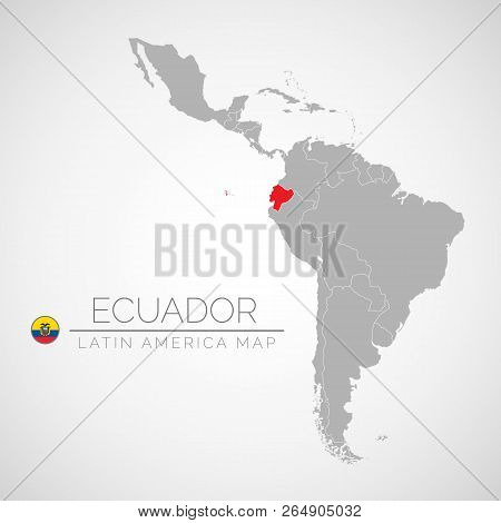 Map Of Latin America With The Identication Of Ecuador. Map Of Ecuador. Political Map Of America In G