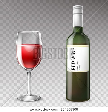 Vector 3d Realistic Wine Bottle With Wineglass, Transparent Glass With Label, White Cork. Cup With R