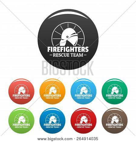 Firefighters Rescue Team Icons Set 9 Color Vector Isolated On White For Any Design
