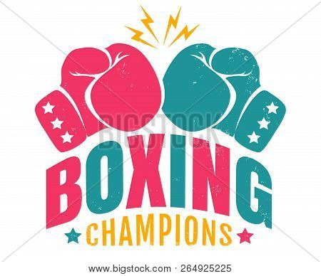 Vector Retro Logo For A Boxing With Two Gloves. Vintage Emblem For Boxing Champions.