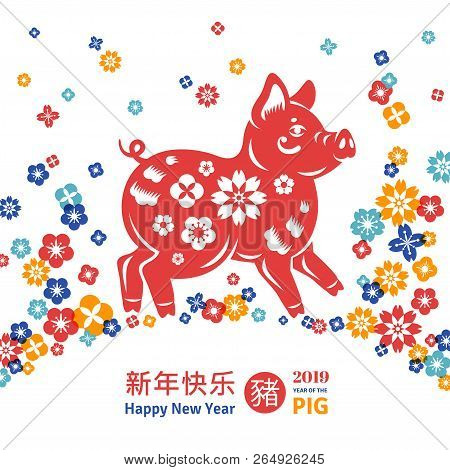 chinese symbol for 2019 vector illustration zodiac sign boar with flowers border frame on
