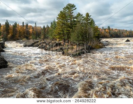 Panoramic View Of The St. Louis River Rapids From The Swinging Bridge At Jay Cooke State Park In Nor