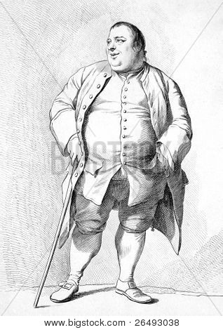 Francis Grose (1731-1791). Engraved by F.Bartolozzi and published in Antiquities of England and Wales, United Kingdom, 1787.