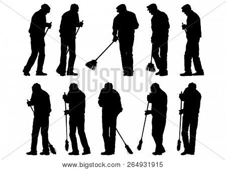 Janitor with broom on white background