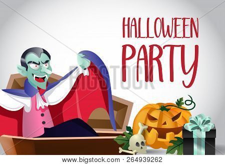 Halloween Party Poster Design. Vampire Rising From Coffin, Pumpkin, Skull And Gift Box On White Back