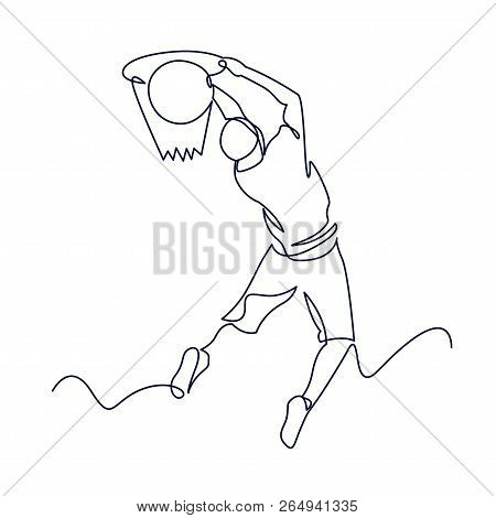 Continuous Line Drawing Of Basketball Player. One Line Art Vector Illustration