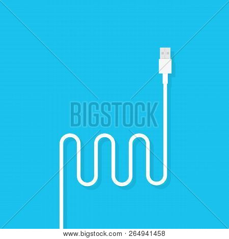 Usb Cable Cord Icon For Web On Blue Background. Vector Stock Illustration.