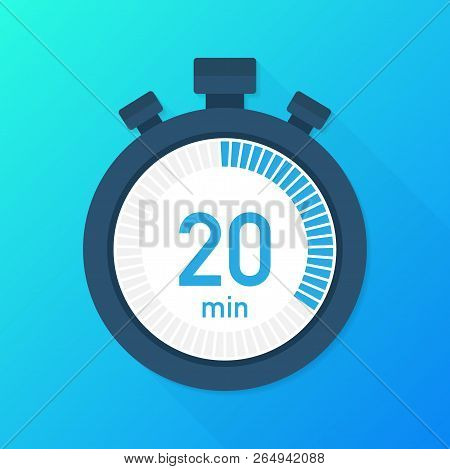 The 20 Minutes, Stopwatch Vector Icon. Stopwatch Icon In Flat Style, Timer On On Color Background.