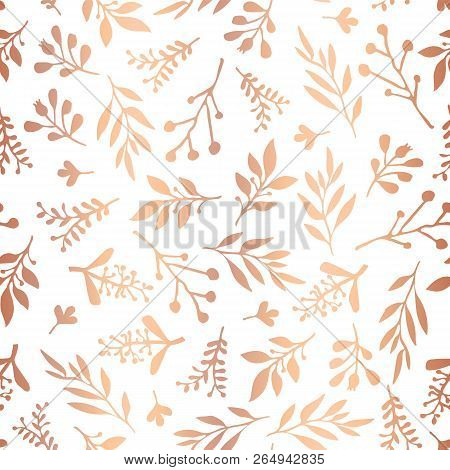 Copper Foil Florals Seamless Vector Background. Rose Gold Abstract Wildflower Grass Shapes On White