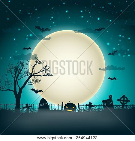 Halloween Party Background With Moon Ball In Night Sky And Bats Flying Over Cemetery Graves Flat Vec