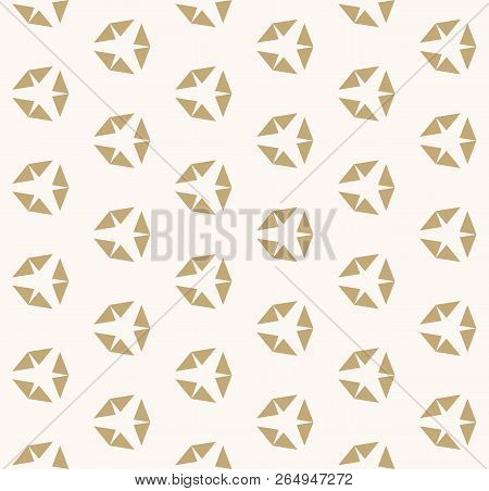 Golden Vector Geometric Seamless Pattern With Diamond Shapes. Simple Modern Minimalist Background. A