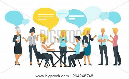 Vector Flat Style Illustration Of Business People Talk And Discussing Data. Social Networking Concep