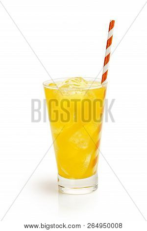 Glass Of Orange Soda Drink With Straw And Ice Cubes