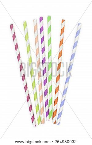 Colorful Paper Drinking Straws On White Background