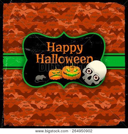 Happy Halloween Red Seamless Pattern With Flying Bats Green Tape And Vintage Blank With Greeting Tex