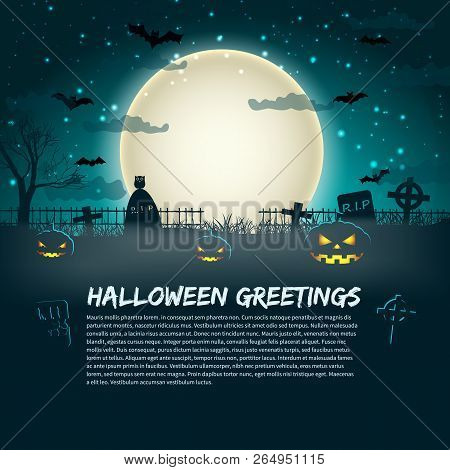 Halloween Greetings Poster With Cemetery Gravestones At Glowing Moon In Star Sky Background Flat Vec