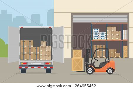 Warehouse Building, Truck And Forklift Truck On City Background. Warehouse Equipment, Cargo Delivery