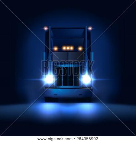 Night Large Classic Big Rig Semi Truck With Headlights And Dry Van Semi Riding On The Dark Night Bac