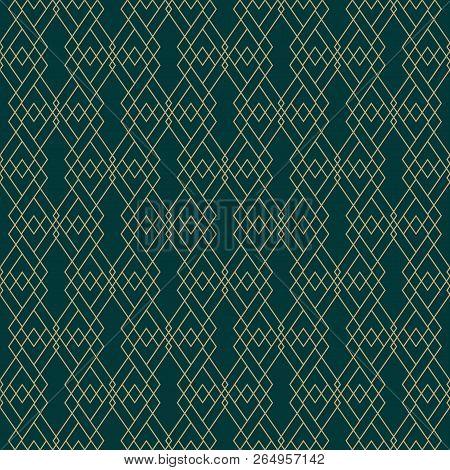 Vector Golden Lines Pattern. Elegant Geometric Seamless Texture With Grid, Diamonds, Rhombuses, Thin