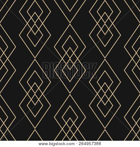 Vector Golden Geometric Texture. Elegant Seamless Pattern With Diamonds, Thin Lines. Abstract Black