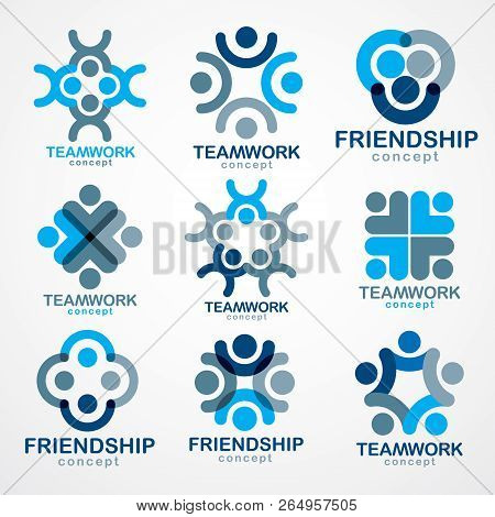 Teamwork Businessman Unity And Cooperation Concepts Created With Simple Geometric Elements As A Peop