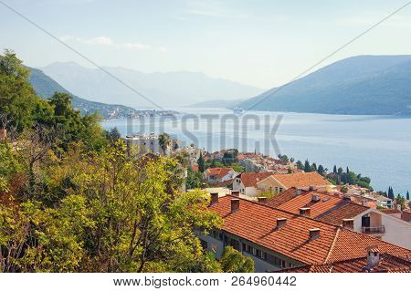 Beautiful Autumn Mediterranean Landscape. Montenegro, Adriatic Sea. View Of Bay Of Kotor Near Herceg